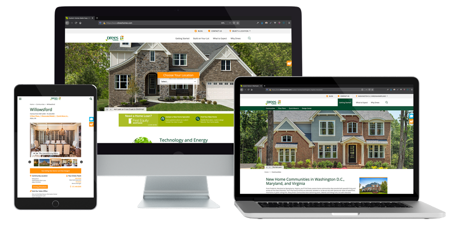 The Drees Homes website on various devices
